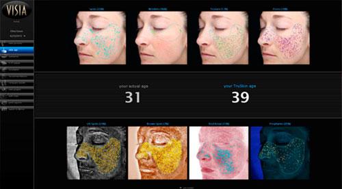 El visor 3D muestra una representación tridimensional de una pequeña área facial en color natural, escala de grises o mapa de colores.